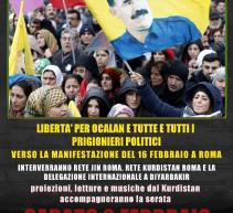 """Roma, """"La resistenza è vita! Libertà per Ocalan e per tutte e tutti i prigionieri politici, il 2 febbraio"""