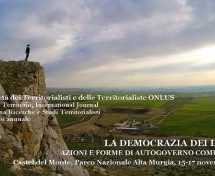 Convegno a Bari: La democrazia dei luoghi, azione forme di autogoverno comunitario 15-17 novembre