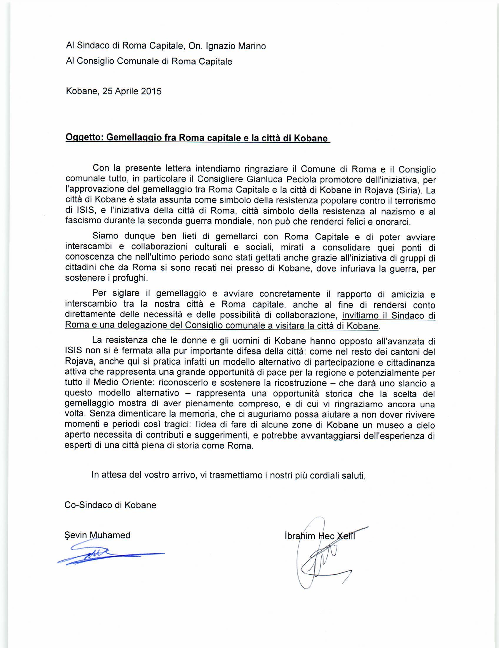 Lettera da Kobane xGemellaggio con Roma