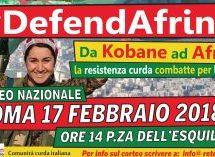 Manifestazione nazionale del 17 febbraio a Roma Fermare le bombe turche su Afrin-Rojava – Libertà per Öcalan e le/i prigionieri politici – Pace e Giustizia per il Kurdistan