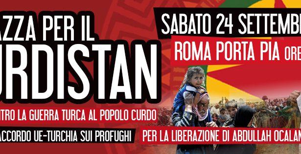 Appello per una mobilitazione nazionale a Roma il 24 settembre  a sostegno del popolo curdo e della rivoluzione democratica in Rojava, per la liberazione di Ocalan- Aggiornato