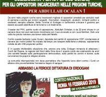 Firenze Presidio di solidereita per il popolo curdo per la liberazione del Ocalan e attivisti dello scioperi della fame