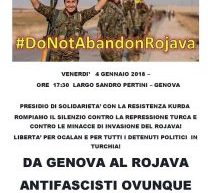 Genova, Presidio di Soliderietà con la resistenza Kurda, il 4 gennaio