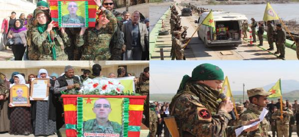 Combattente YPG caduto congedato verso l'Italia