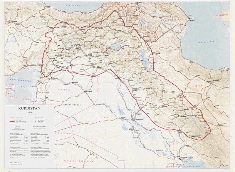 Cartina Kurdistan.La Questione Kurda Uiki Onlus