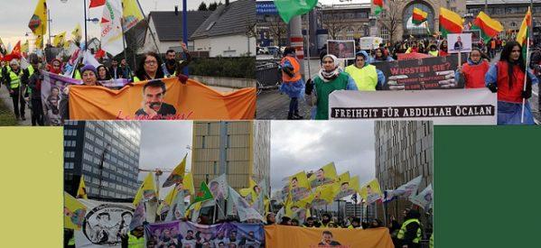 Le lunghe marcie verso Strasburgo sono iniziate: No all'isolamento, No al fascismo e Libertà per Ocalan.
