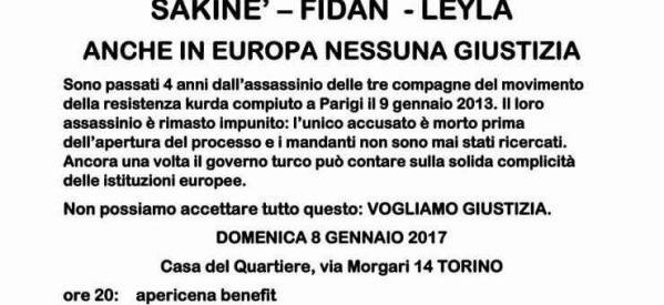 Torino, Sakine, Leyla, Fidan, anche in europa nessuna giustizia! – 8 gennaio