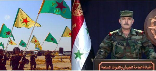 Le YPG chiedono al governo siriano di opporsi all'invasione turca, l'esercito siriano risponde